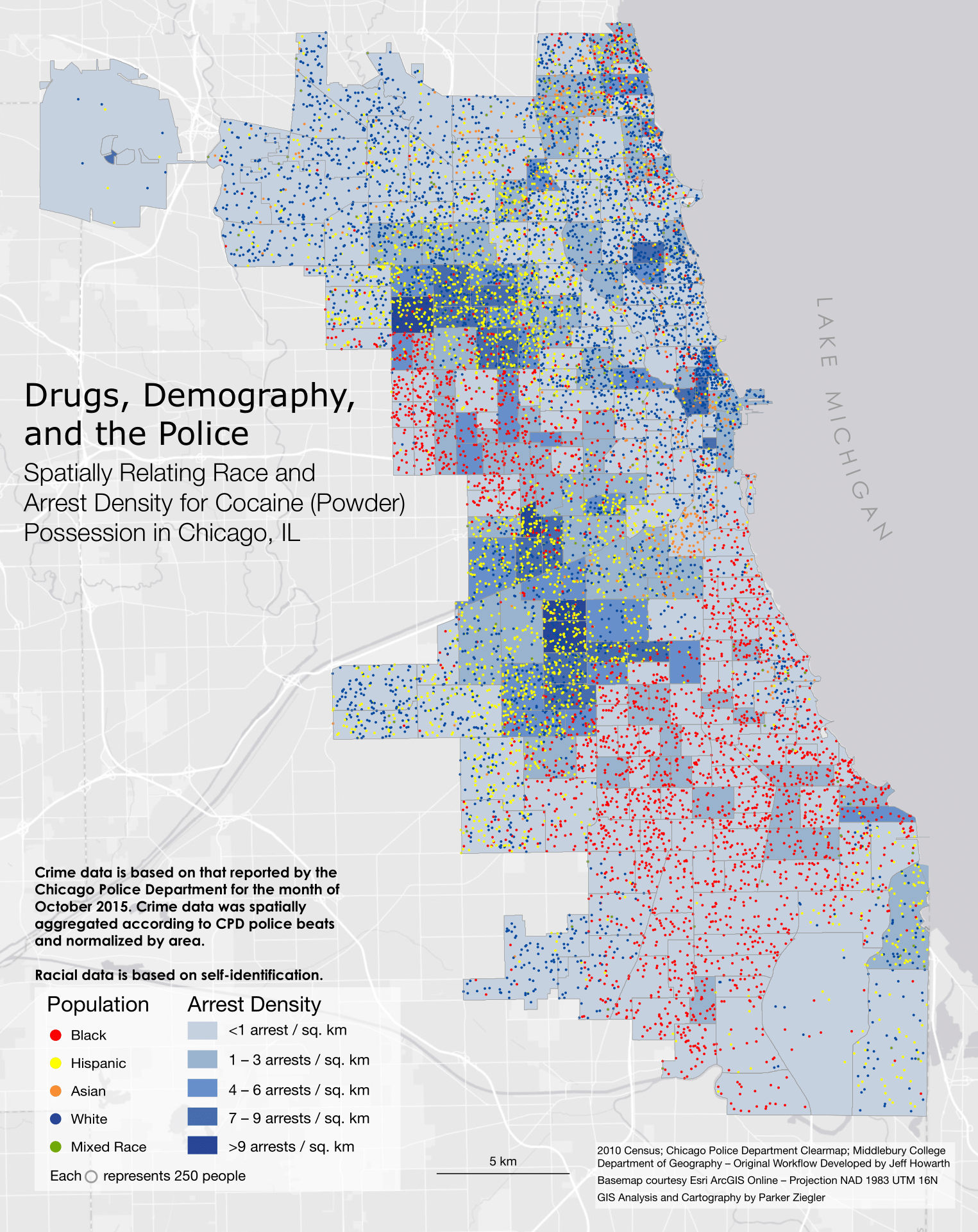 A map spatially correlating race and arrest density for possession of  cocaine in Chicago, IL.