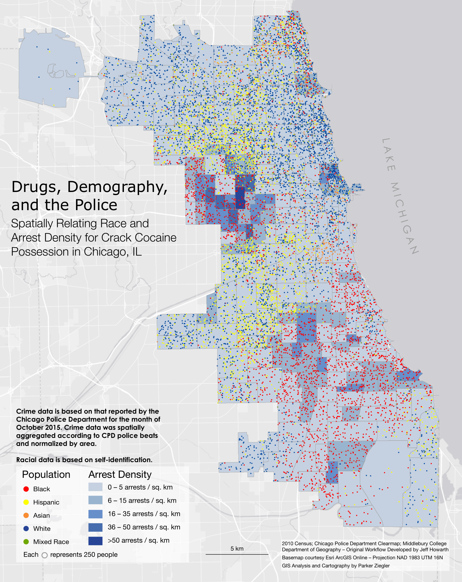 A map spatially correlating race and arrest density for possession of crack cocaine in Chicago, IL.