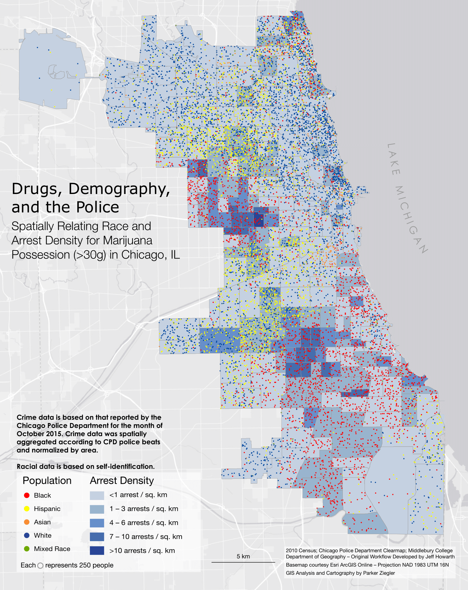 A map spatially correlating race and arrest density for possession of marijuana in Chicago, IL.