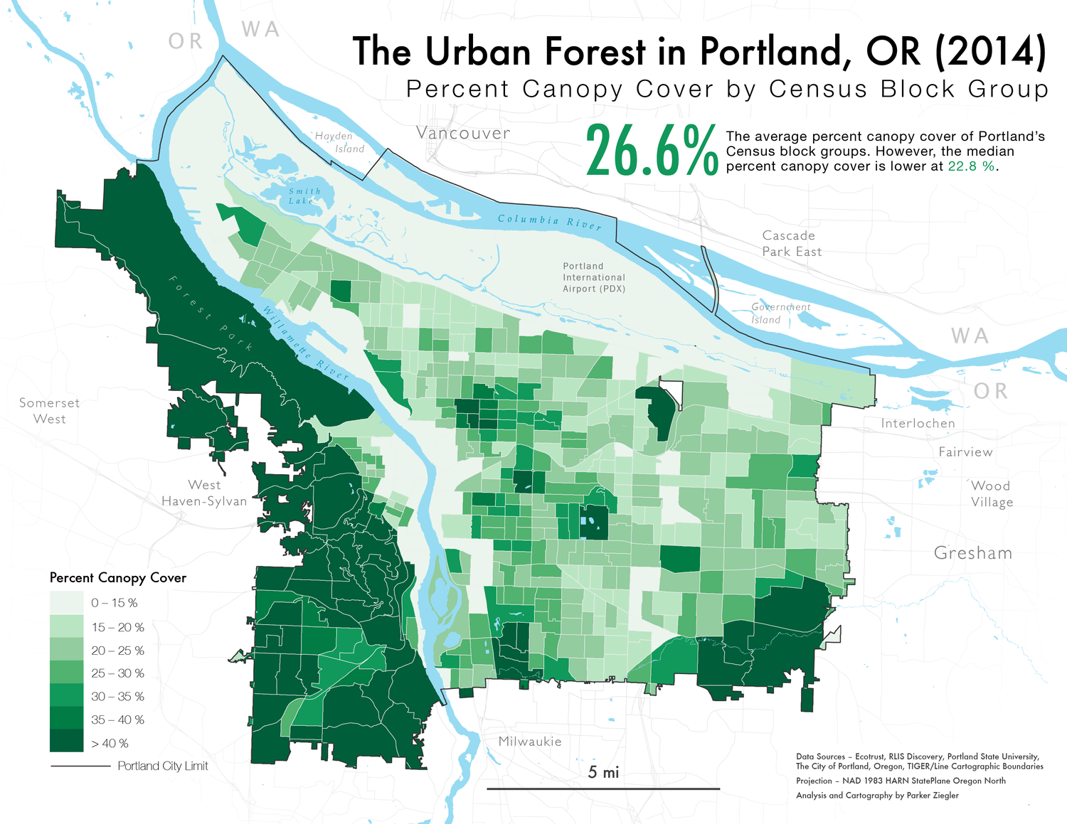 A map of Portland's urban canopy by Census Block Group in 2014.