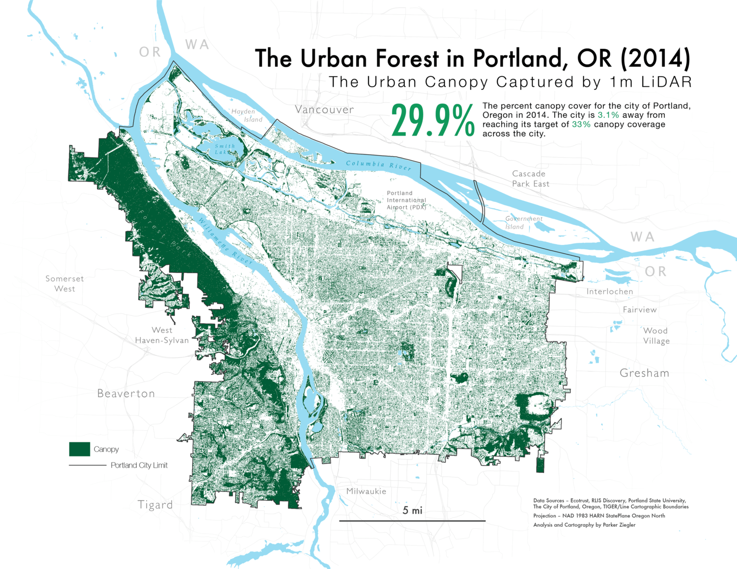 A map of Portland's urban canopy captured using LiDAR in 2014.