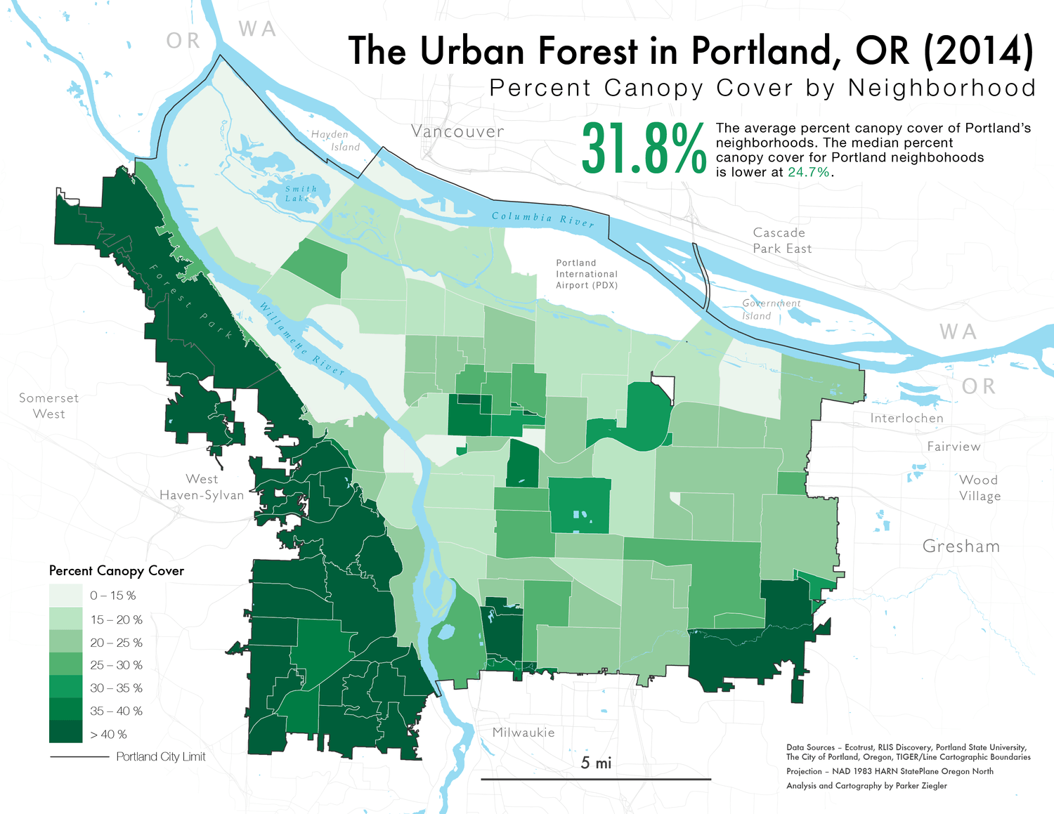 A map of Portland's urban canopy by neighborhood in 2014.