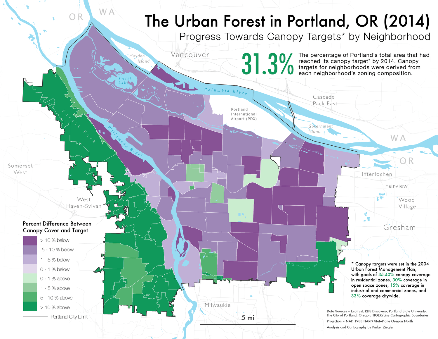 A map of Portland's urban canopy cover compared to city targets by neighborhood in 2014.