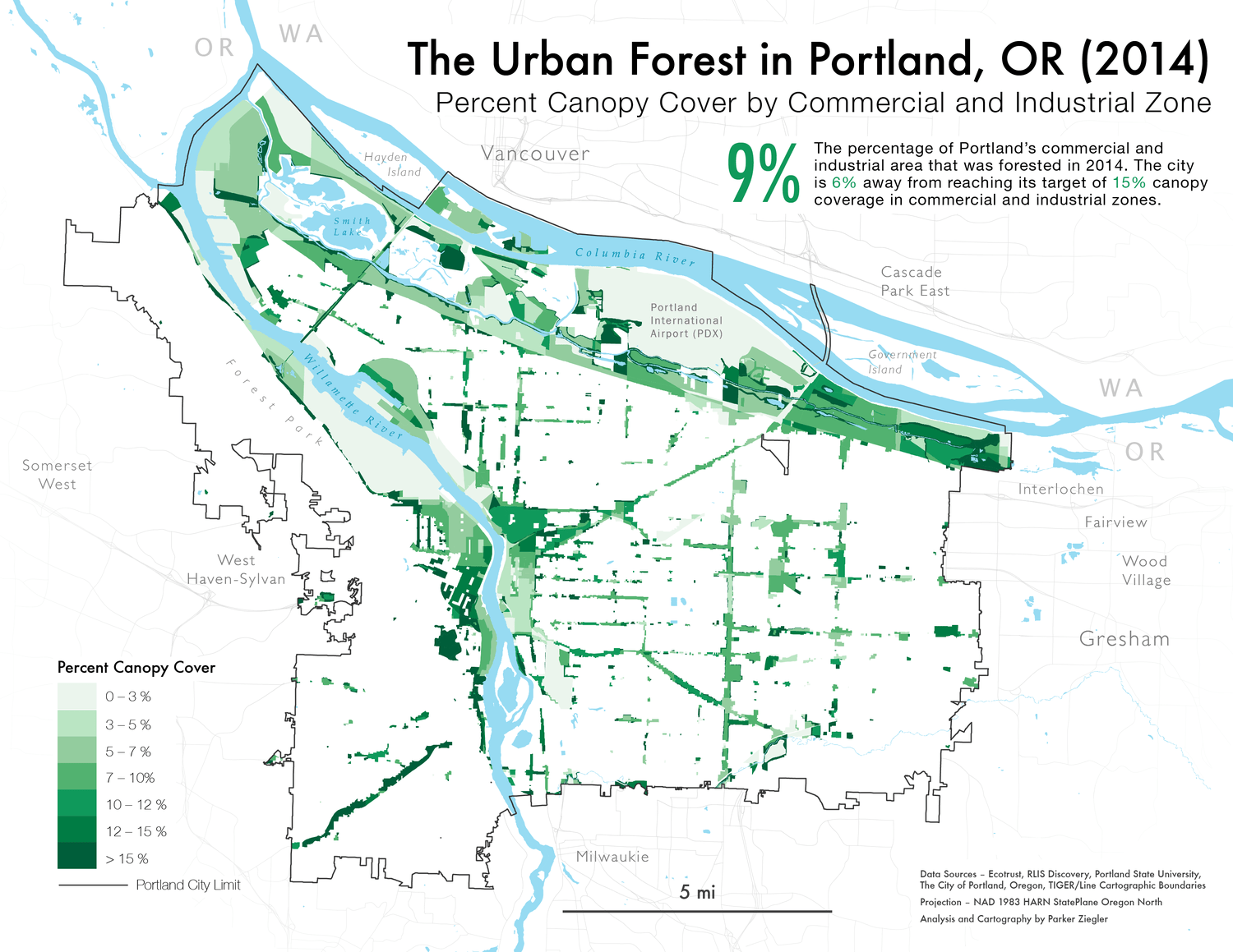 A map of Portland's urban canopy by Commercial and Industrial Zone in 2014.