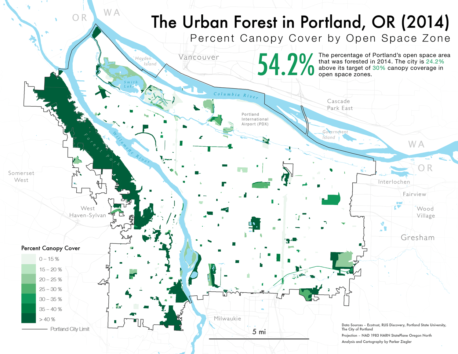 A map of Portland's urban canopy by Open Space Zone in 2014.