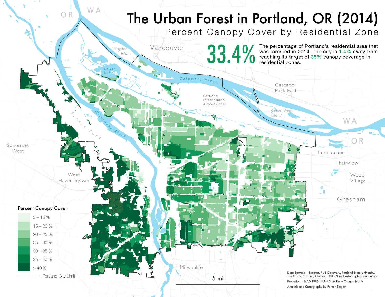A map of Portland's urban canopy by Residential Zone in 2014.