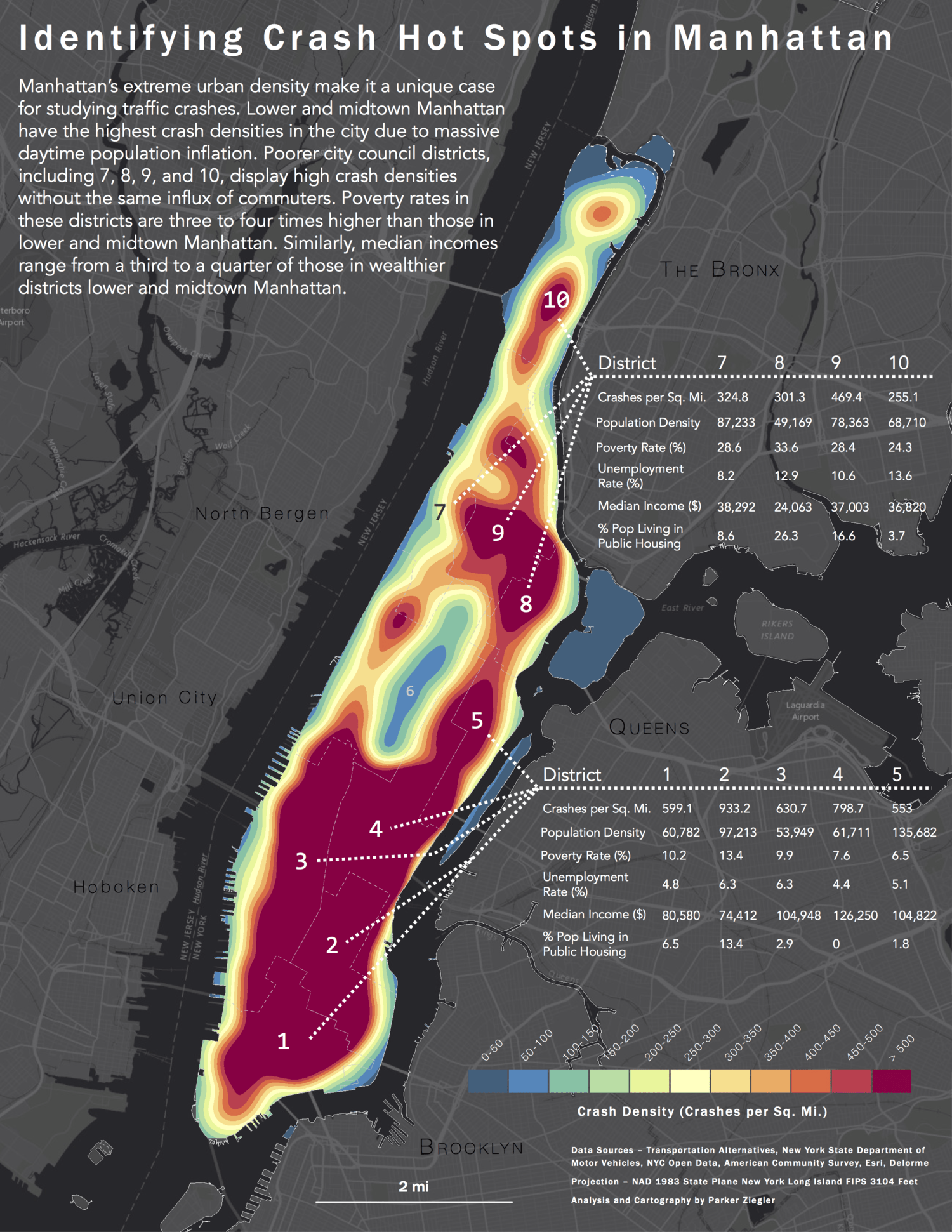 A heat map of traffic crashes in Manhattan, New York City between 2013 and 2015.